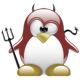 Tux (the Linux penguin) with daemon horns